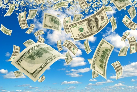 business metaphore: The Scatterring bills on background sky. Stock Photo