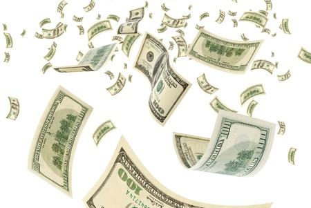 cash money: Billetes de cien dólares en un fondo blanco. Foto de archivo