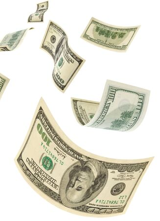 transfer pricing: Hundred-dollar bills on a white background, vertical.