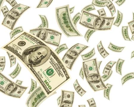 白い背景の上の米ドル。