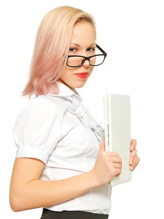 Half-length portrait of girl with a computer. Stock Photo - 17803599