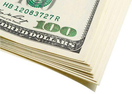monetization: Fragment bundle of dollars on white, isolated  Stock Photo
