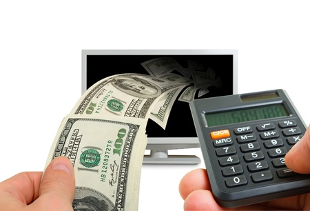 Collage with a monitor, money, calculator, hands. Stock Photo - 18828754