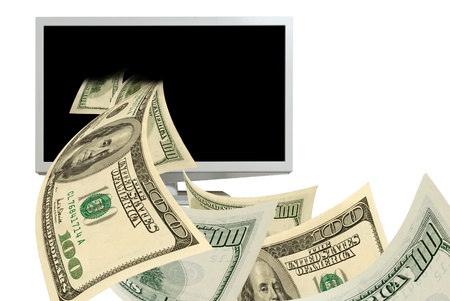 speculation: Cash dollars closeup fly  from the computer monitor.