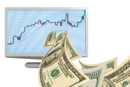 Dólares en efectivo vuelan de un monitor de ordenador con el programa de intercambio. Foto de archivo - 18961173