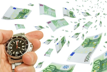 activation: Collage with flying euro bills in his hand and a clock. Stock Photo