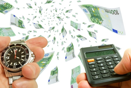 transfers: Collage with flying bills watch and calculator in hand. Stock Photo