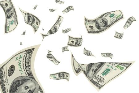 Hundred-dollar bills on a white background.