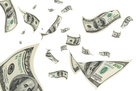 transfer pricing: Hundred-dollar bills on a white background.