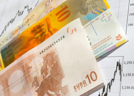 eur: Banknotes of the European countries, on the paper chart. Stock Photo