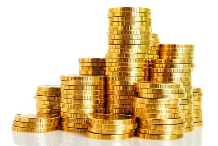 コインのクローズ アップのスタックが分離された白の背景です。 写真素材