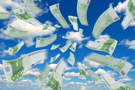 subsidy: Flying euro banknotes against the sky  Stock Photo