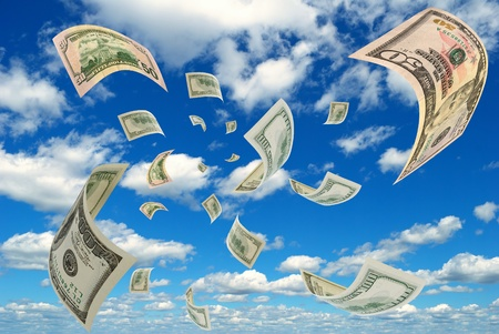 advances: U S  dollar against the sky  Stock Photo