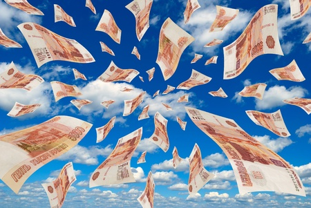 devaluation: Russian money flying in the sky