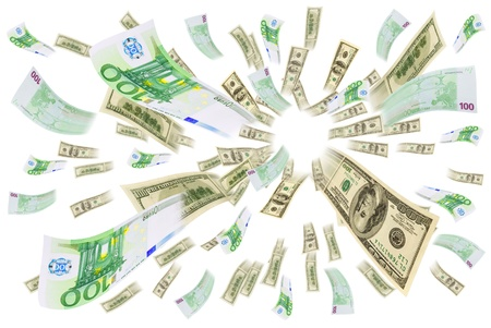 Euro and dollar bills are flying on a white background