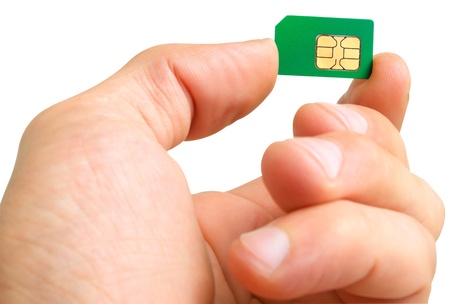 activation: Sim card in a man Stock Photo