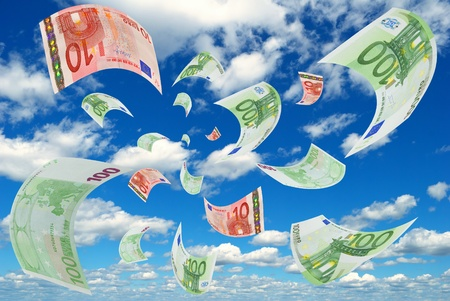 Deformed euro banknotes in the sky