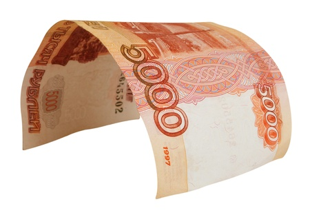 sop: 5000 rubles, deformed bill, isolated on white background