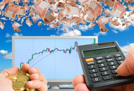 Succesvolle financiële speculatie op de beurs Stockfoto