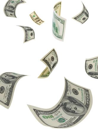 Honderd-dollarbiljetten op een witte achtergrond, verticale Stockfoto