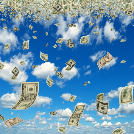 Money is flying in the sky  Stock Photo