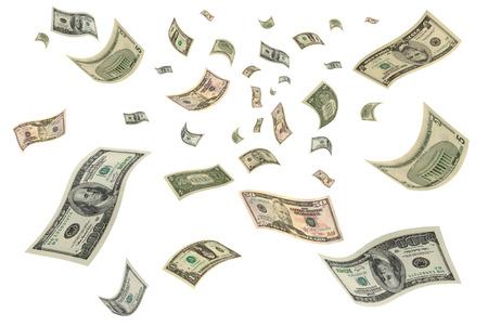 お金が空を飛んでいます。 写真素材