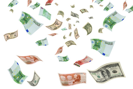 intervention: Euro and dollar bills are flying on a white background