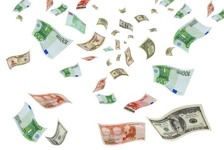 Euro en dollarbiljetten vliegen op een witte achtergrond Stockfoto