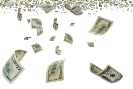 transfer pricing: Deformed bills on white background
