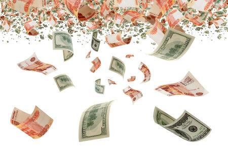 Koers van de roebel ten opzichte van de dollar usd wrijven Stockfoto