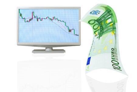 depreciation: Depreciation of the euro on international stock exchanges  Stock Photo