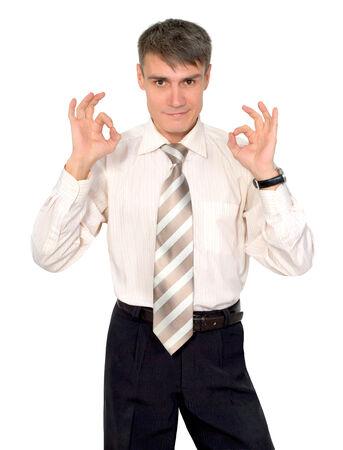 comunicacion no verbal: Gestos hombre en un empate en un fondo blanco aislado