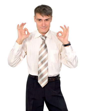 Gestures man in a tie on a white background isolated  Banco de Imagens