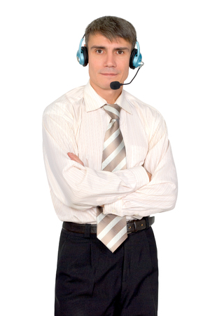 A man in a headset isolated on white background