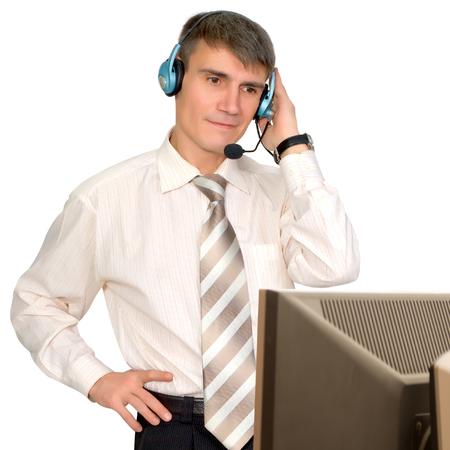 白い背景で、コンピューターのヘッドセットの男 写真素材
