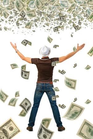 gl�cklich mann: Gl�cklicher Mann und eine Menge Geld