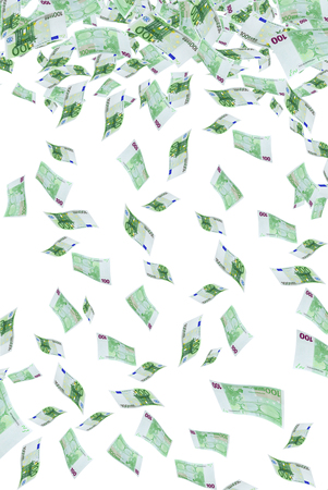 Deformed euro banknotes in flight on a white background