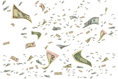 money flying: Money is flying in the air