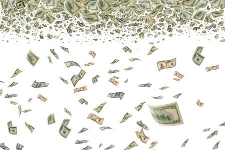 お金が宙を舞う 写真素材