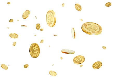空気で浮かぶ 10 ルーブルの硬貨 写真素材