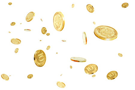 Coins of 10 rubles to hover in the air