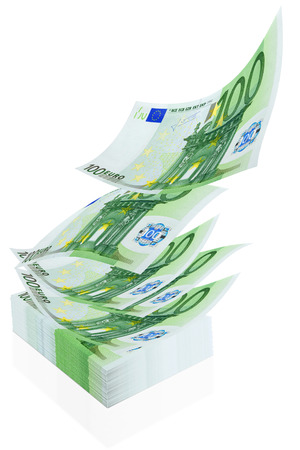 Thick wad of euro and flying banknote on a white background Stock Photo - 29228262