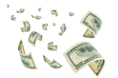 hundred dollar bill: Money is flying in the air