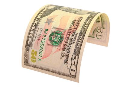 Vijftig dollar bankbiljet geïsoleerd op een witte achtergrond.