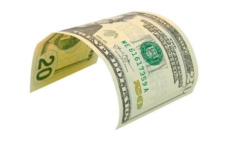 accrual: Twenty dollar dollars isolated on white background.
