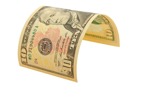 denomination: The denomination of ten dollars isolated. Stock Photo