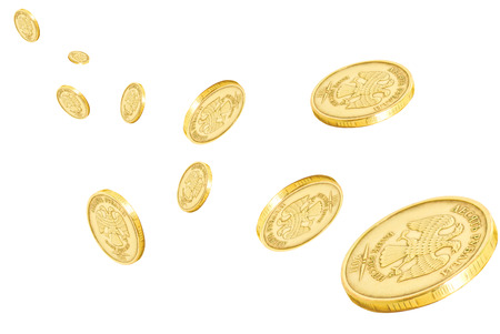 Collage with coins on a white background. Stock Photo