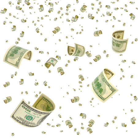 accrual: Hundred-dollar bills floating in the air. Stock Photo