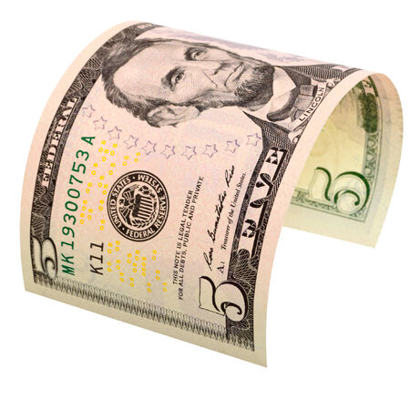 cashing: Five dollars isolated on white background.