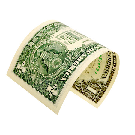 accrual: One dollar isolated on a white background.